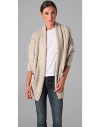 VINCE | Natural Cable Knit Cocoon Cardigan | Lyst