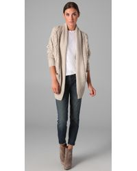 Vince   Natural Cable Knit Cocoon Cardigan   Lyst