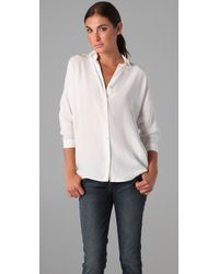 Vince | White 3/4 Sleeve Wedge Blouse | Lyst