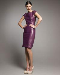 Saint Laurent - Purple Cap-sleeve Leather Dress - Lyst