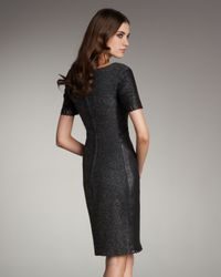 Zac Posen - Black Leather and Tweed Panel Dress - Lyst