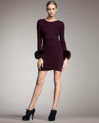Alice + Olivia | Brown Sutton Fur-cuff Dress | Lyst