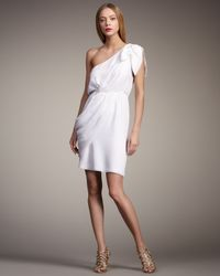 Alice + Olivia | White Carmen One-shoulder Draped Dress | Lyst