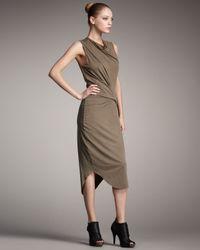 Helmut Lang | Green Torrent Cowl-neck Dress | Lyst