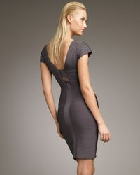 Hervé Léger | Gray Cap-sleeve Dress | Lyst