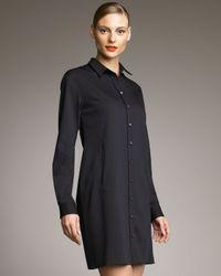 Jil Sander Navy | Black Pleated-back Shirtdress | Lyst