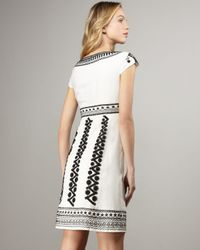 Nanette Lepore | White Cap Sleeve Embroidered Blow-away Dress | Lyst