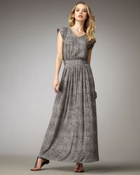 Rebecca Taylor | Gray Snake-print Maxi Dress | Lyst
