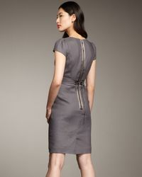 Rebecca Taylor | Gray Essential Ruffle-neck Dress | Lyst
