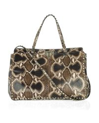 Valentino   Embellished And Embossed Rockstud Tote - Brown   Lyst