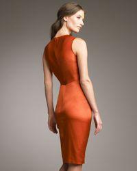 Armani | Orange Twist-front Satin Dress | Lyst