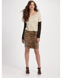 Elizabeth and James | Natural Faux Leopard Pencil Skirt | Lyst