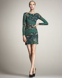 Emilio Pucci | Green Peacock-print Keyhole Dress | Lyst