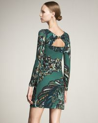 Emilio Pucci - Green Peacock-print Keyhole Dress - Lyst