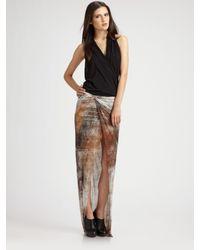 Helmut Lang | Brown Printed Slit Skirt | Lyst
