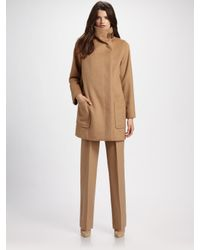 Max Mara - Natural Camel Hair Tailored Trousers - Lyst