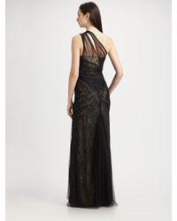 ML Monique Lhuillier | Black Lace and Tulle One Shoulder Gown | Lyst