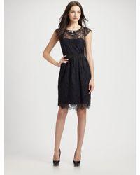 ML Monique Lhuillier - Black Midnight Lace Cocktail Dress - Lyst