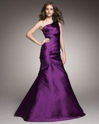 Monique Lhuillier | Purple One-shoulder Drape Gown | Lyst