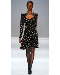 Rebecca Taylor - Black Ghost Flower Print Ruffle Dress - Lyst