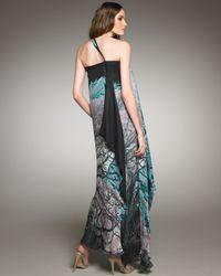 Roberto Cavalli | Blue Graphic-print Cross-shoulder Gown | Lyst