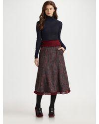 Tory Burch | Brown Eckly Tweed Skirt | Lyst