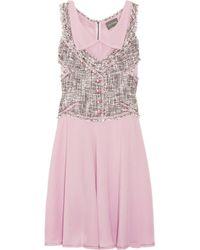 Zac Posen | Purple Tweed Vest-effect Silk-blend Dress | Lyst