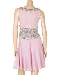 Zac Posen - Purple Tweed Vest-effect Silk-blend Dress - Lyst
