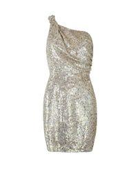 AllSaints | Metallic Velutina One Shoulder Dress | Lyst