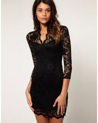 ASOS Collection - Black Asos Lace Dress with Scalloped Neck - Lyst