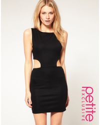 ASOS Collection | Black Asos Petite Cut Out Side Bodycon Dress | Lyst