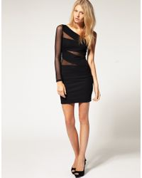 ASOS Collection | Black Asos Petite Exclusive One Shoulder Bodycon Dress with Mesh Insert | Lyst