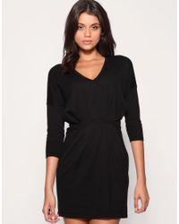 ASOS   Black V-neck Pleat Waist Knitted Dress   Lyst