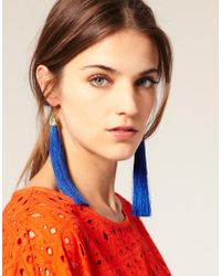 ASOS Collection - Blue Asos Long Tassel Drop Earrings with Ornate Cap Detail - Lyst
