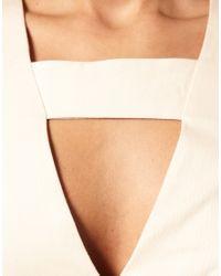 ASOS Collection - Natural Asos Petite Deep V-bar Neck Pencil Dress - Lyst