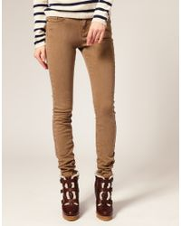 ASOS Collection - Brown Asos Washed Camel Skinny Jeans - Lyst