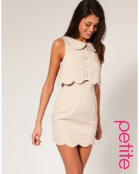 ASOS Collection | Natural Asos Petite Pique Chelsea Scalloped Shift Dress | Lyst