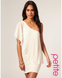 ASOS Collection | Natural Asos Petite Pleated One Shoulder Bodycon Dress | Lyst
