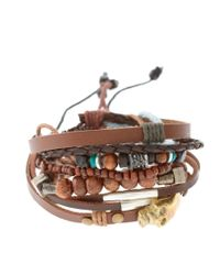 ASOS Collection - Multicolor Asos Brass Skull and Leather Bracelet Pack for Men - Lyst