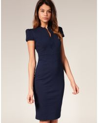 ASOS Collection - Blue Asos Ponti Pencil Dress with Zip Detail - Lyst