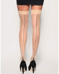 ASOS Collection | Natural Asos Nude with Black Seam Stockings | Lyst