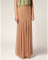 ASOS Collection - Natural Asos Salon Sheer and Solid Godet Silk Maxi Skirt - Lyst