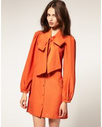 ASOS Collection - Orange Asos Mini Pussybow Shirt Dress with Shirred Cuffs - Lyst