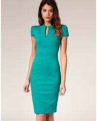 ASOS Collection | Blue Asos Ponti Pencil Dress with Zip Detail | Lyst