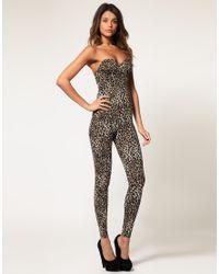 ASOS Collection | Multicolor Asos Bandeau Leopard Jumpsuit | Lyst