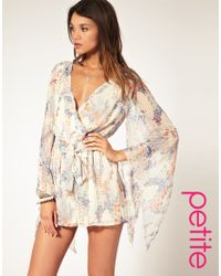 ASOS Collection | Multicolor Asos Petite Oriental Floral Kimono Sleeve Playsuit | Lyst