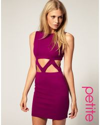 ASOS Collection | Purple Asos Petite Exclusive Bodycon Dress with Cut Out Waist | Lyst