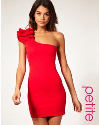 ASOS Collection | Red Asos Maternity One Shoulder Dress with Corsage | Lyst