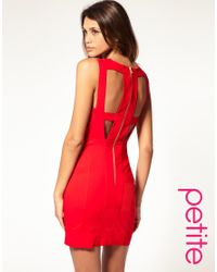 ASOS Collection - Red Asos Petite Cut Out Bodycon Dress with Mesh Insert - Lyst