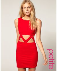 ASOS Collection - Red Asos Petite Exclusive Bodycon Dress with Cut Out Waist - Lyst